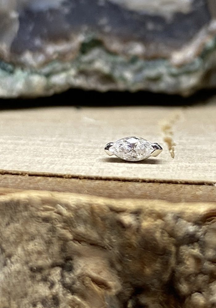 Buddha Jewelry Zuri White Gold with White CZ 1.5mmx3mm Threadless