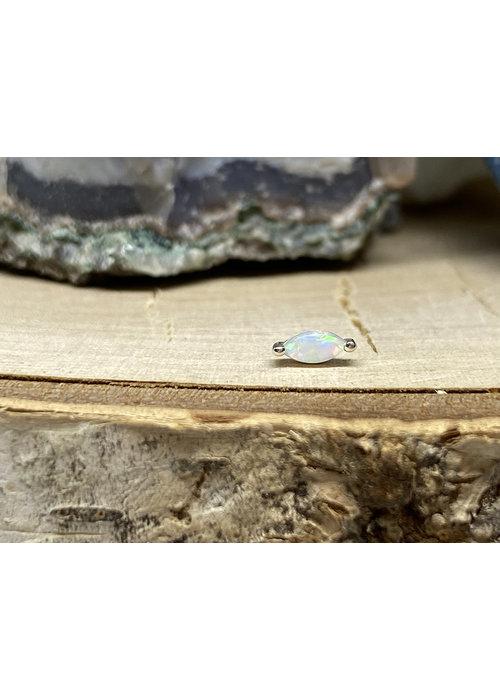 Buddha Jewelry Organics Buddha Jewelry Zuri White Gold with White Opal 2mmx4mm Threadless