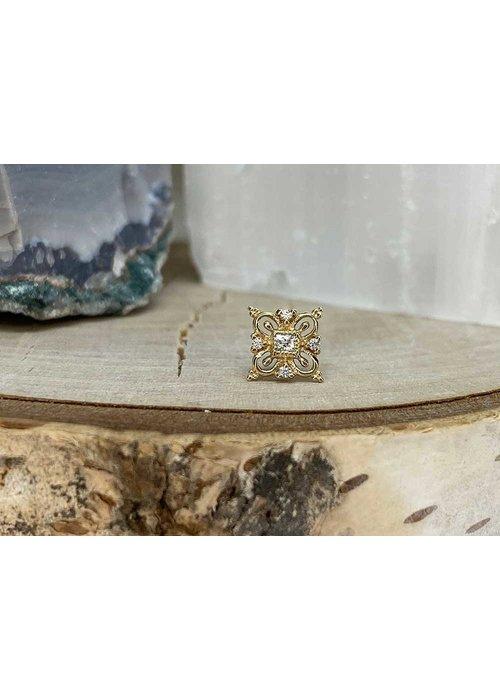Buddha Jewelry Organics Buddha Jewelry Esmee Yellow Gold with White CZ Threadless