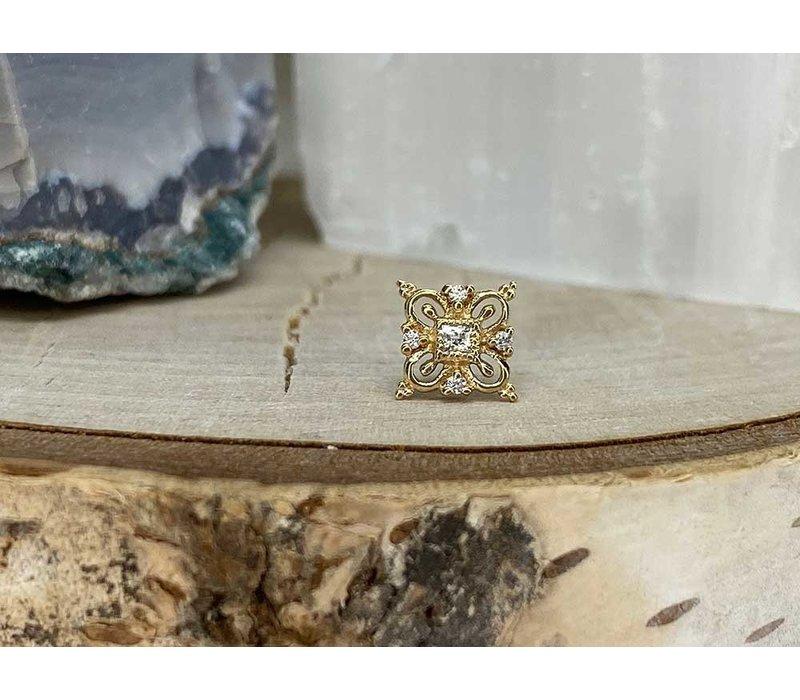 Buddha Jewelry Esmee Yellow Gold with White CZ Threadless
