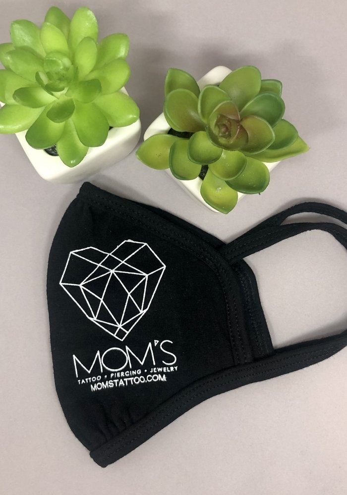 Mom's Modern Logo Face Mask with Ear Loop Black