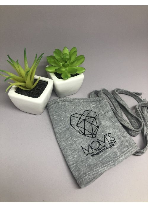 Mom's Modern Logo Face Mask with Tie Strings Grey