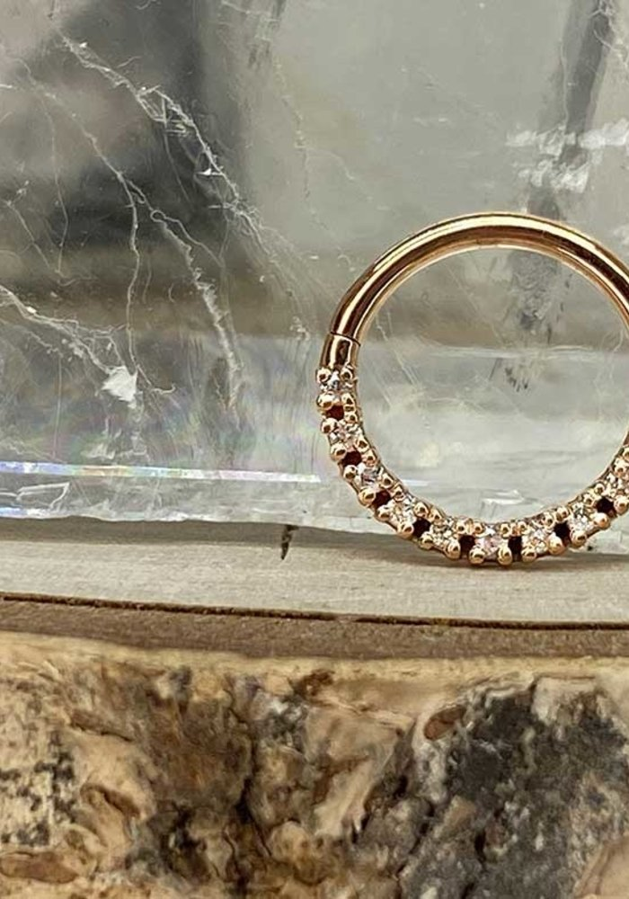 "Tawapa Infinite Solid 14k Rose Gold with White Diamonds 16g 3/8"" Seam Ring"