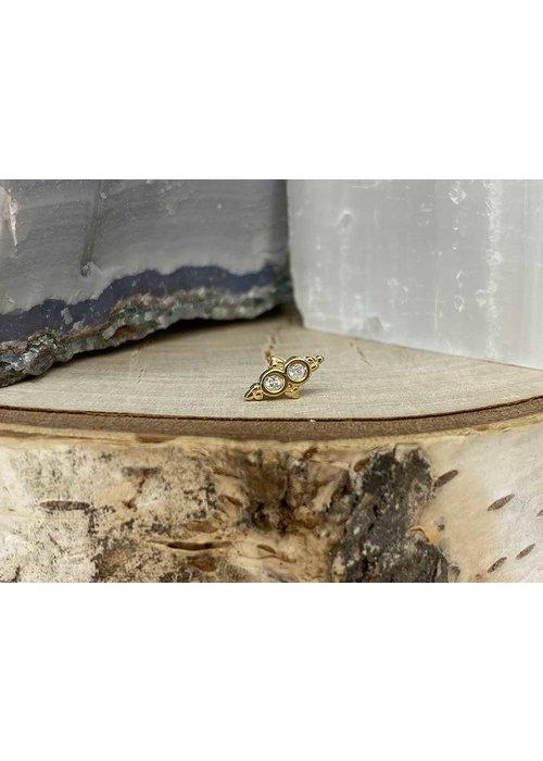 Tawapa Tawapa Wish 14k Yellow Gold with (2) 1.5mm Round White Diamond Threadless