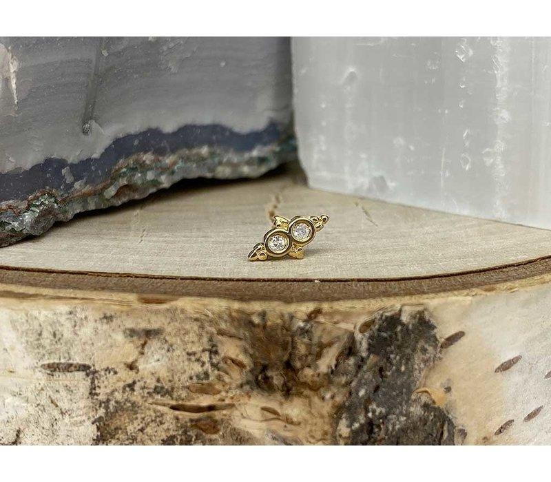 Tawapa Wish 14k Yellow Gold with (2) 1.5mm Round White Diamond Threadless