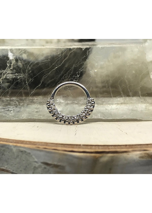 "Tawapa Tawapa Grove Solid 14k White Gold with White Diamonds 16g 3/8"" Seam Ring"