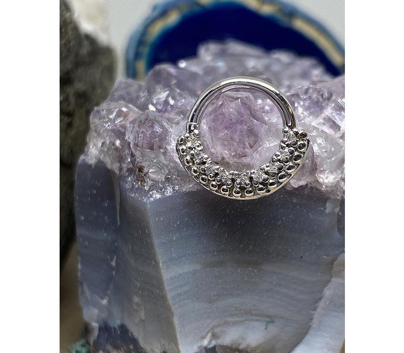 "Tawapa Grove Solid 14k White Gold with White Diamonds 16g 5/16"" Seam Ring"