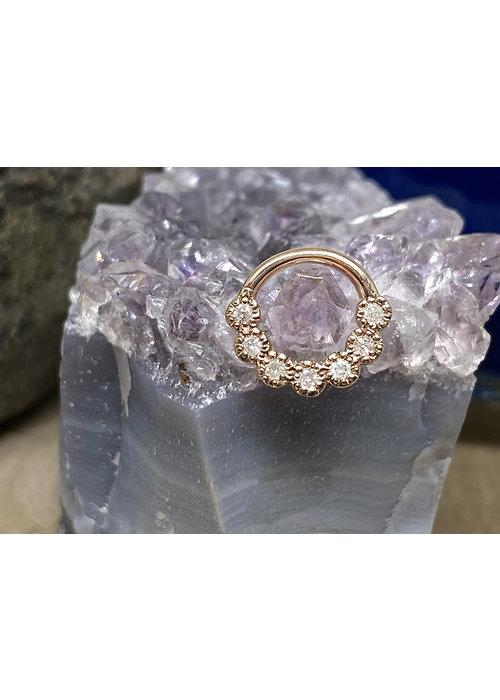 "Tawapa Tawapa Daisy Chain Solid 14k Rose Gold with (7) 1.5mm White Diamonds 16g 3/8"" Seam Ring"