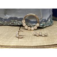 "Tawapa Daisy Chain Solid 14k Rose Gold with (7) 1.5mm White Diamonds 16g 3/8"" Seam Ring"