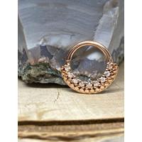 "Tawapa Grove Solid 14k Rose Gold with White Diamonds 16g 5/16"" Seam Ring"