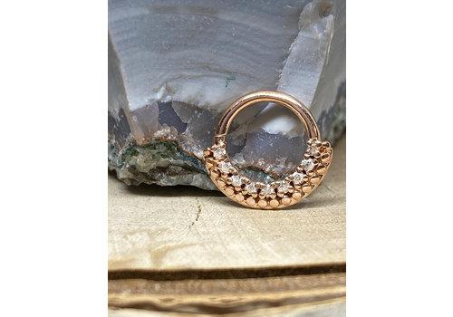 "Tawapa Tawapa Grove Solid 14k Rose Gold with White Diamonds 16g 5/16"" Seam Ring"