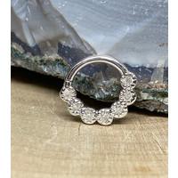"Tawapa Daisy Chain Solid 14k White Gold with (7) 1.5mm White Diamonds 16g 3/8"" Seam Ring"