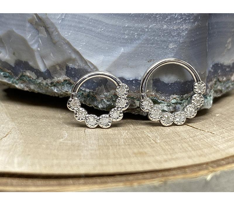 "Tawapa Daisy Chain Solid 14k White Gold with 1.5mm White Diamonds 16g 5/16"" Seam Ring"