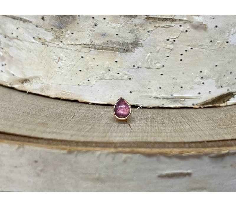 Buddha Jewelry Bezel Pear Rose Gold Amethyst 3mmx4mm Threadless