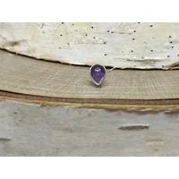 Buddha Jewelry Bezel Pear White Gold Amethyst 3mmx4mm Threadless