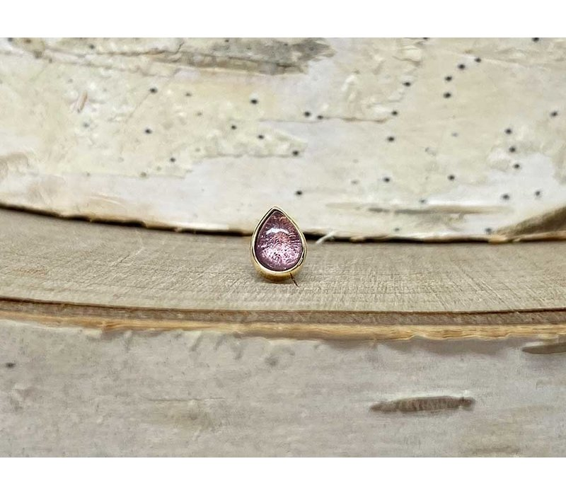 Buddha Jewelry Bezel Pear Yellow Gold Amethyst 3mmx4mm Threadless