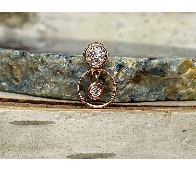 Buddha Jewelry Warhol Rose Gold CZ Threadless