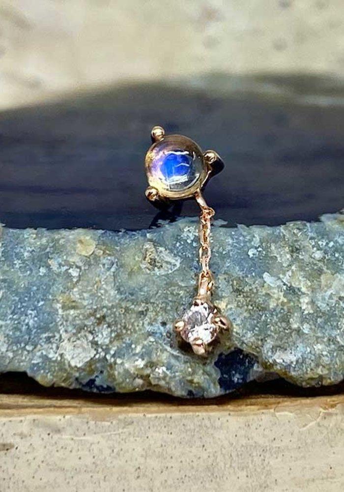 Buddha Jewelry Bianca Rose Gold Blue Moonstone with White Sapphire  Chain Threadless