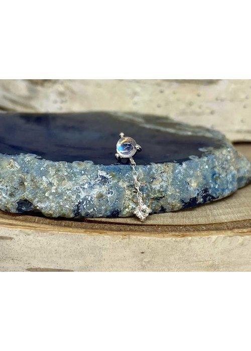 Buddha Jewelry Organics Buddha Jewelry Bianca White Gold Blue Moonstone with White Sapphire  Chain Threadless