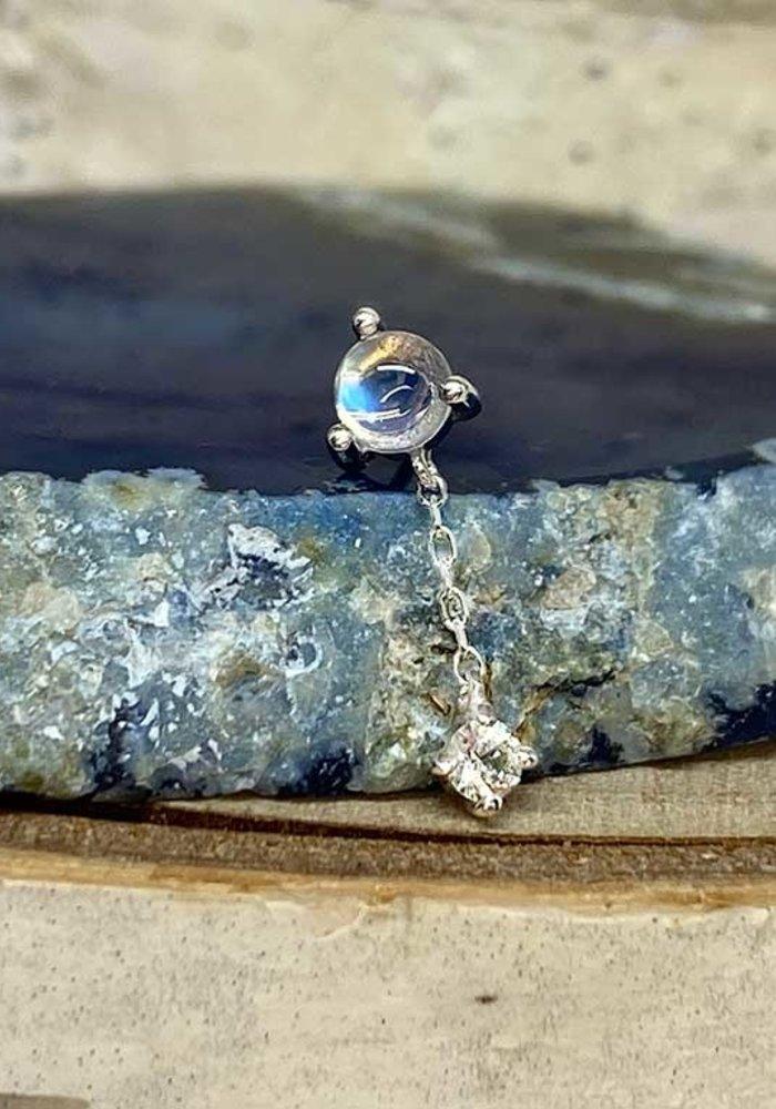 Buddha Jewelry Bianca White Gold Blue Moonstone with White Sapphire  Chain Threadless