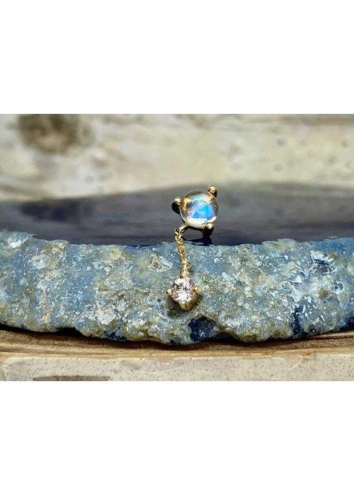 Buddha Jewelry Organics Buddha Jewelry Bianca Yellow Gold Blue Moonstone with White Sapphire  Chain Threadless