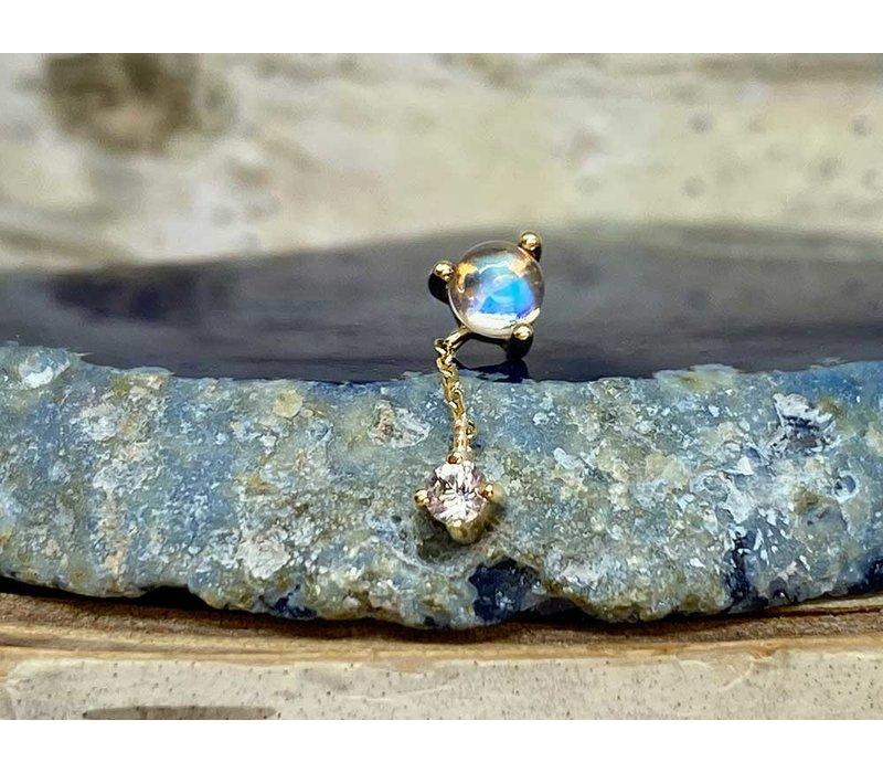 Buddha Jewelry Bianca Yellow Gold Blue Moonstone with White Sapphire  Chain Threadless