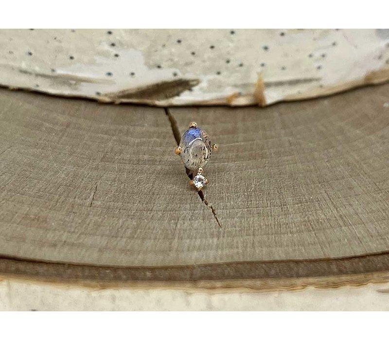 Buddha Jewelry Descendant Rose Gold Labradorite with Topaz Threadless