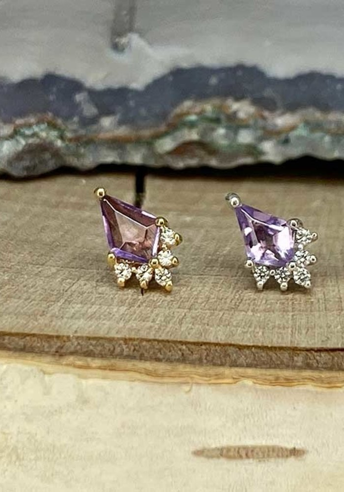 Buddha Jewelry Noble Yellow Gold Amethyst with CZ