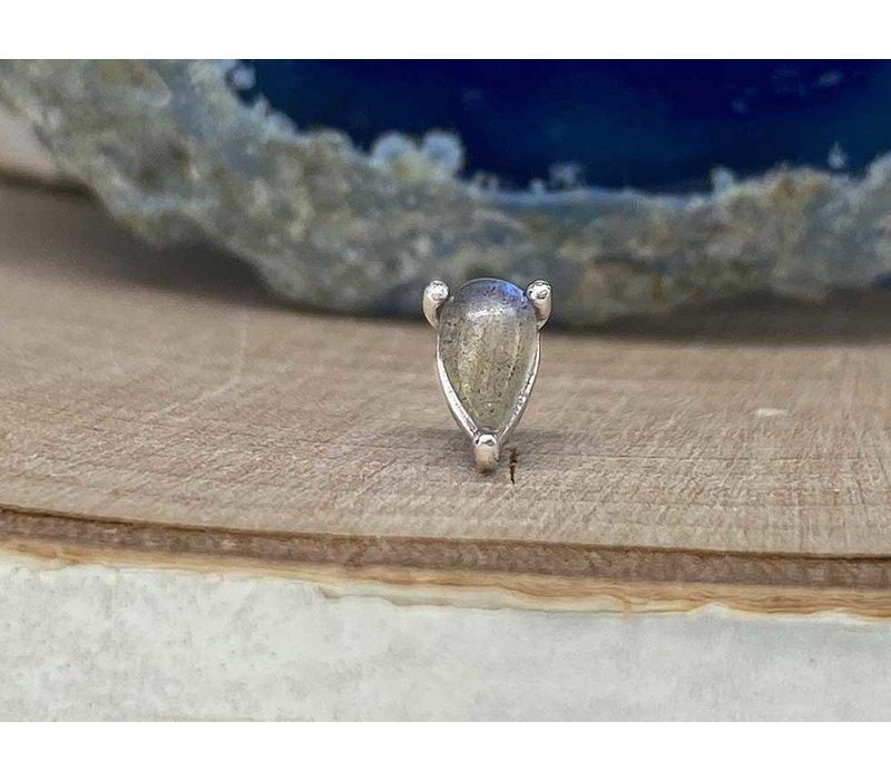 Buddha Jewelry Prong Pear White Gold Labradorite Threadless