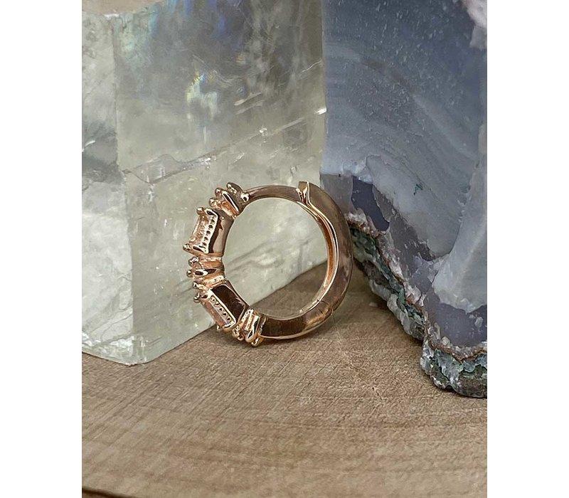 """Buddha Jewelry Euphoria Rose Gold White Sapphire 18g 5/16"""" Clicker"""