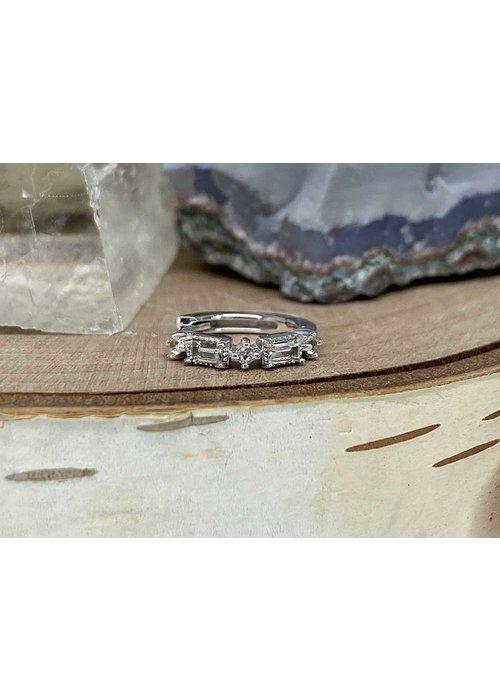"""Buddha Jewelry Organics Buddha Jewelry Euphoria White Gold White Sapphire 18g 5/16"""" Clicker"""