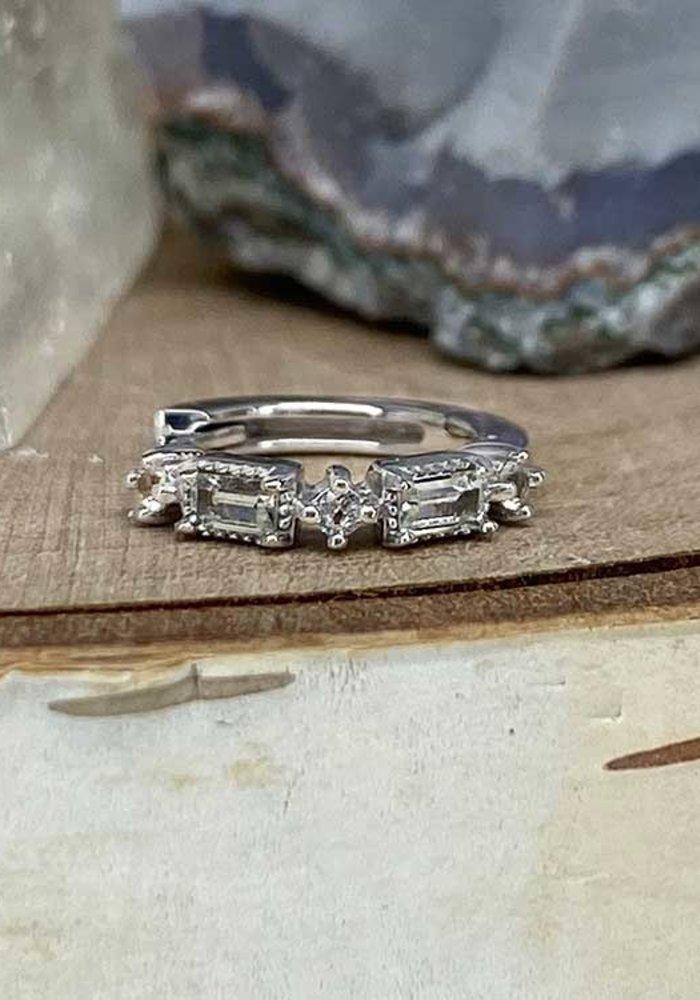 """Buddha Jewelry Euphoria White Gold White Sapphire 18g 5/16"""" Clicker"""
