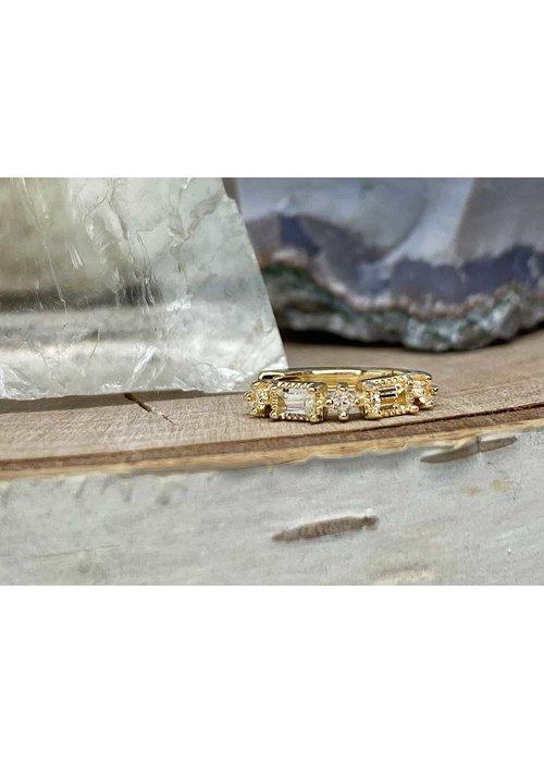 """Buddha Jewelry Organics Buddha Jewelry Euphoria Yellow Gold White Sapphire 18g 5/16"""" Clicker"""