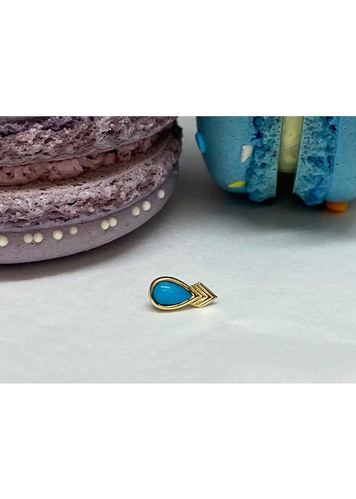 Buddha Jewelry Organics Tawapa Fable Yellow Gold with Turquoise Threadless