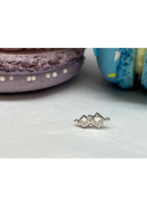 Tawapa Tawapa Twilight 14k White Gold with (1) 2mm & 1.5mm Square Genuine White Diamond Threadless