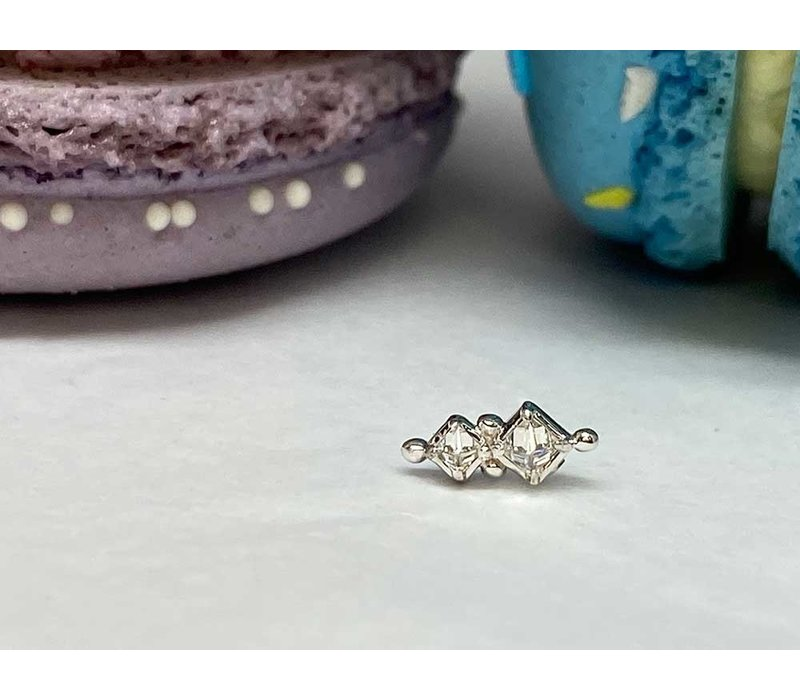 Tawapa Twilight 14k White Gold with (1) 2mm & 1.5mm Square Genuine White Diamond Threadless