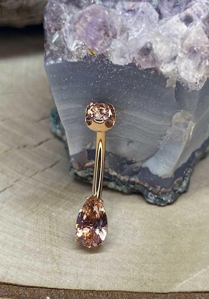 Anatometal Pear Cut Prong Navel Curve Rose Gold Dusty Morganite 14g 7/16 4mm x 8mm