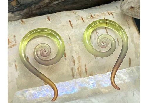 Glassheart Glassheart Mini Spiral Snakes in Gold Tourmaline 8g