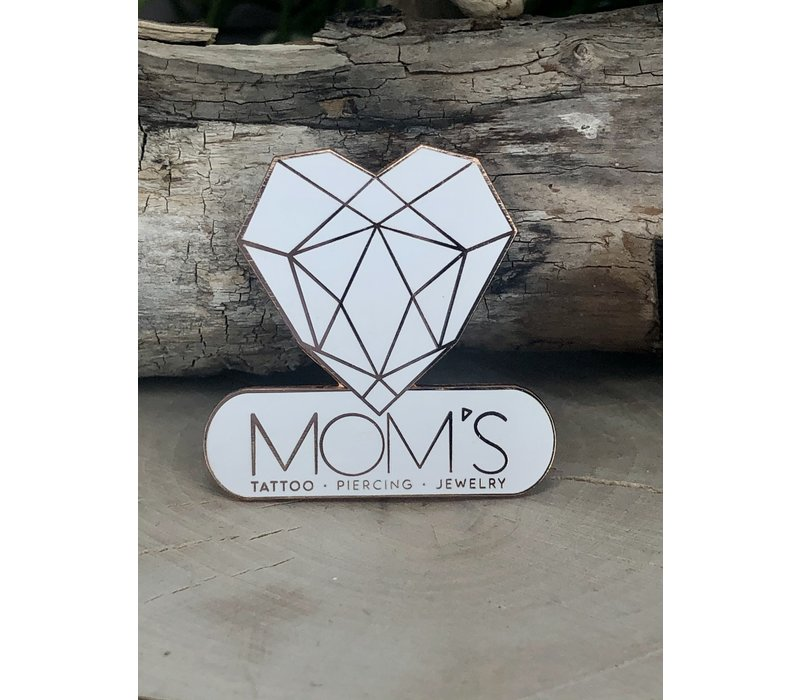 Moms Modern Logo Enamel Pin White / Rose Gold