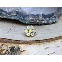 Buddha Jewelry Solange Solid Yellow Gold with White Opal Threadless