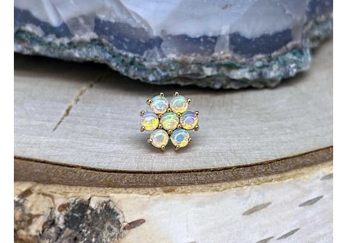 Buddha Jewelry Organics Buddha Jewelry Solange Solid Yellow Gold with White Opal Threadless