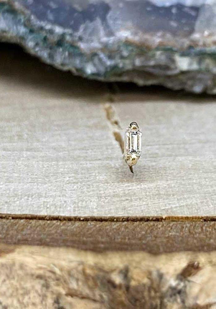 Buddha Jewelry Paris Prong Baguette Yellow Gold with White Diamond Threadless