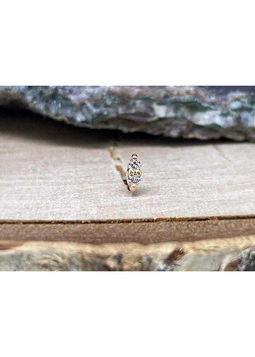 Buddha Jewelry Organics Buddha Jewelry Mishka 2 Rose Gold with White CZ 1mm Threadless