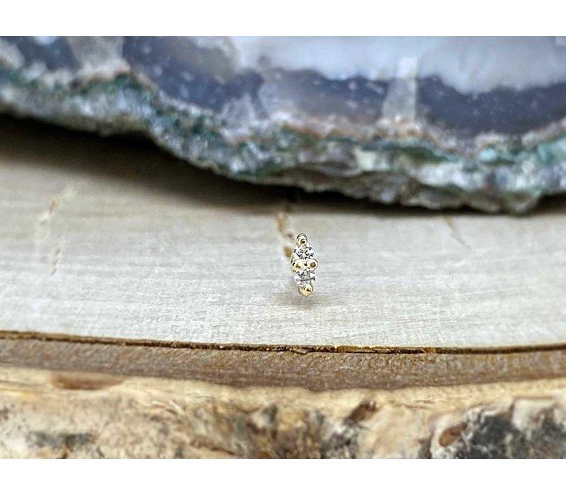 Buddha Jewelry Mishka 2 Yellow Gold with White CZ 1mm Threadless