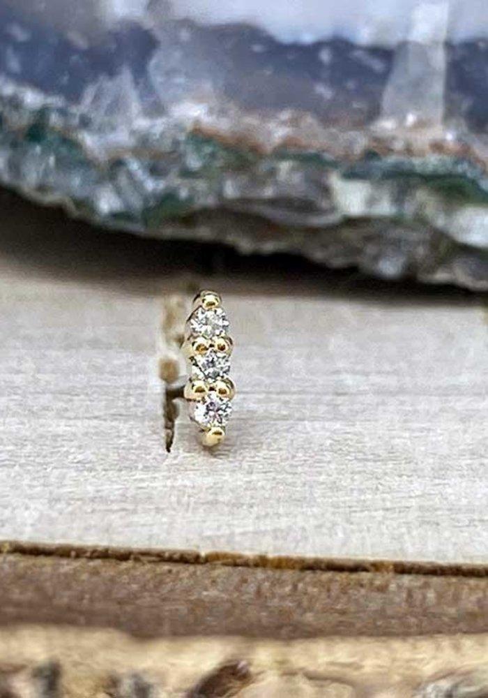 Buddha Jewelry Mishka 3 Yellow Gold with White CZ 1mm Threadless