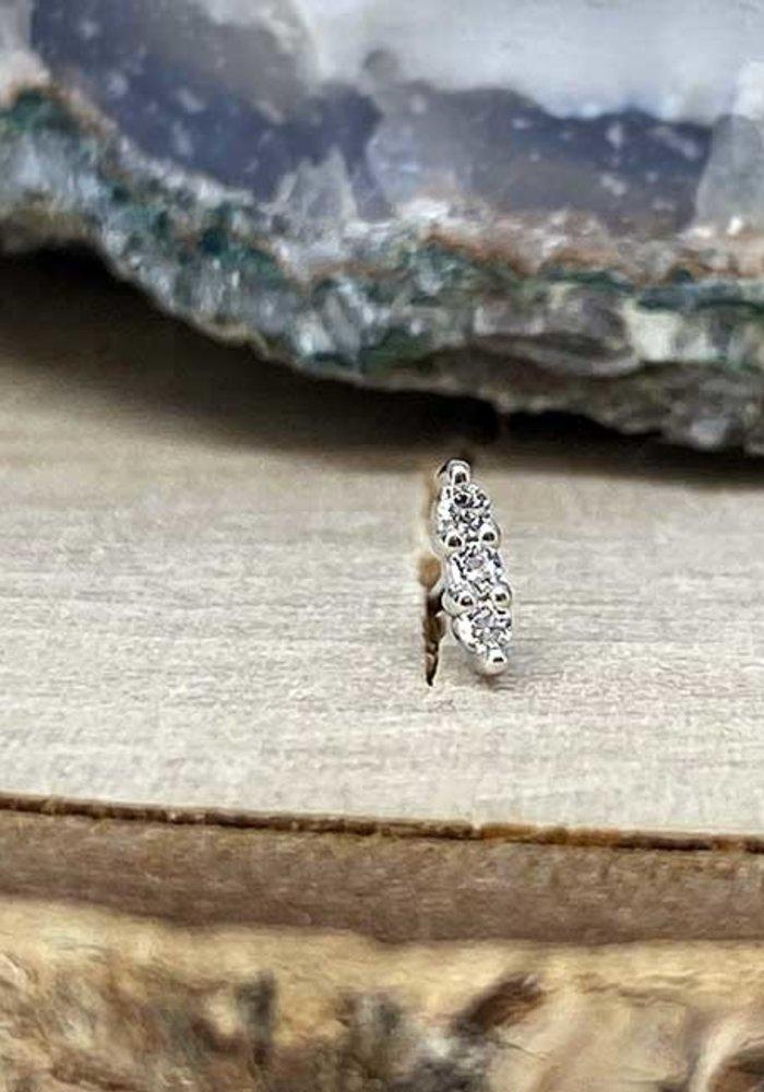 Buddha Jewelry Mishka 3 White Gold with White CZ 1mm Threadless