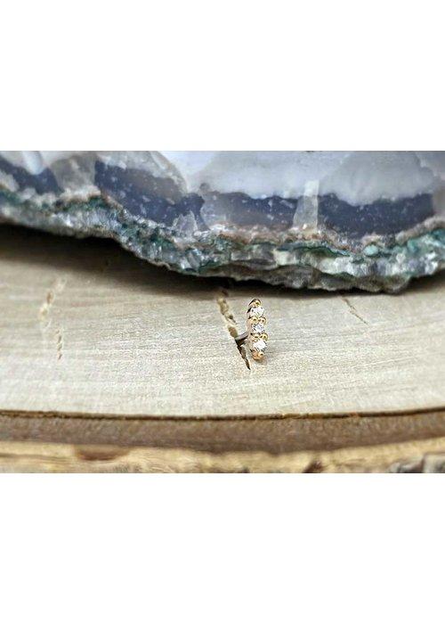Buddha Jewelry Organics Buddha Jewelry Mishka 3 Rose Gold with White CZ 1mm Threadless
