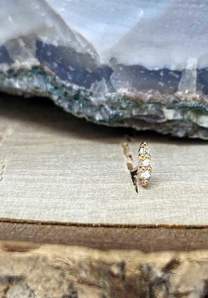 Buddha Jewelry Mishka 3 Rose Gold with White CZ 1mm Threadless