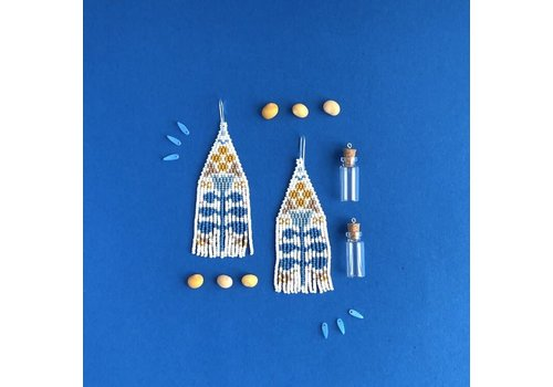 ABELL Designs Blue & Mustard Folk Flowers