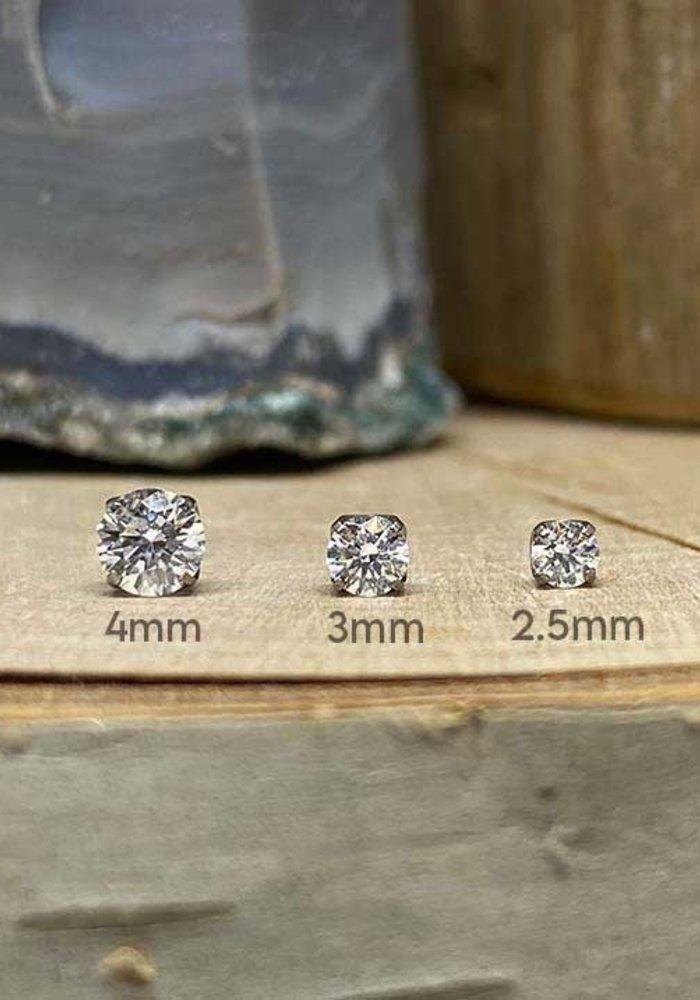 Neometal Prong Gem Titanium White CZ Threadless